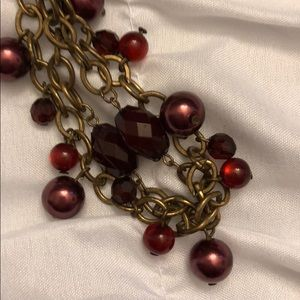 Burgundy and antique gold short necklace